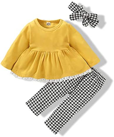 Infant Baby Girls Clothes Long Sleeve Ruffle Yellow DressTops Plaid Long Pants Fall Winter Outfits product image