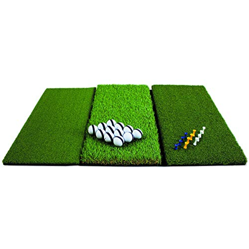 Rukket Tri-Turf Golf Hitting Mat Attack | Portable Driving, Chipping, Training Aids for Backyard with Adjustable Tees...