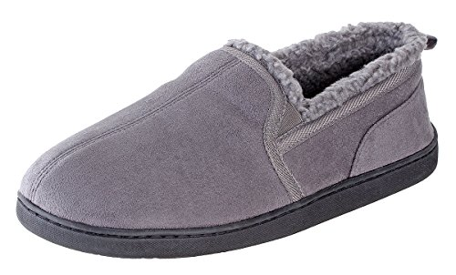 Urban Fox Dixon Suede Slippers Men I Rubber-Sole with grips I Thickly Padded I 100% boa lining I Comfortable House Slippers I Slippers for Men I Closed Toe & Heel Slippers for Men