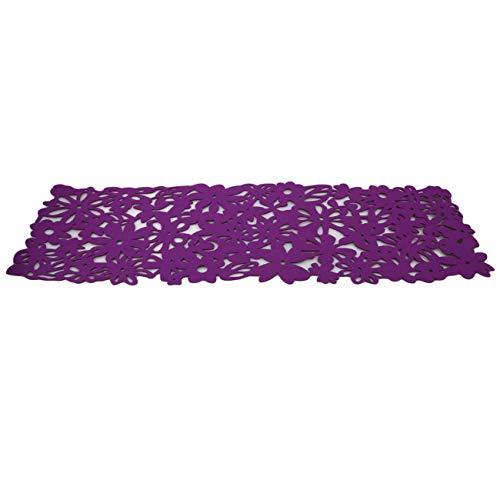 Bigsweety Rechteck Filz Tischläufer Tischsets Home Dekoration Hollow Flower Tischdecke Tischsets (Lila)