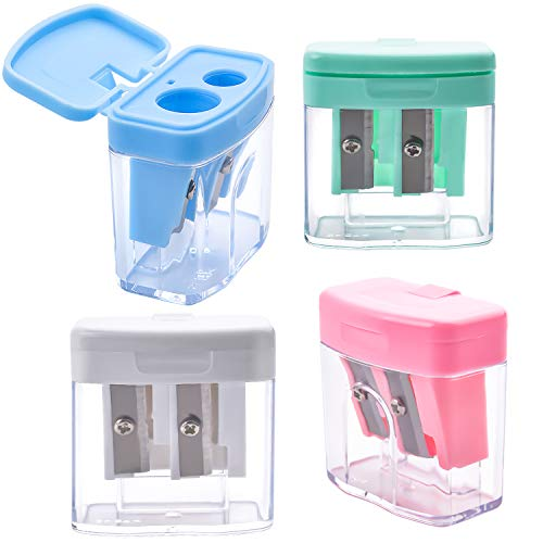Aylifu 4 Pieces Manual Pencil Sharpener Dual-Hole with Cover in 4 Colors for Kids Home Offices School