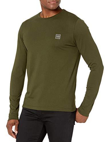 Hugo Boss Herren Basic Long Sleeve with Logo T-Shirt, olivgrün, Klein