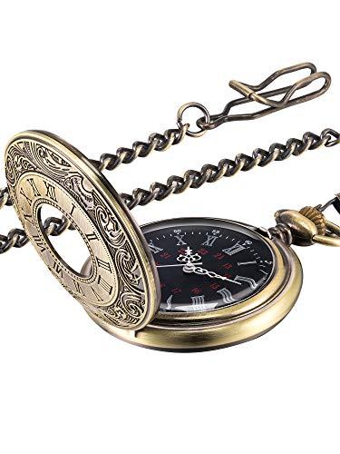 Reloj de Bolsillo Vintage Reloj de Hombres de Acero con Cadena (Bronce