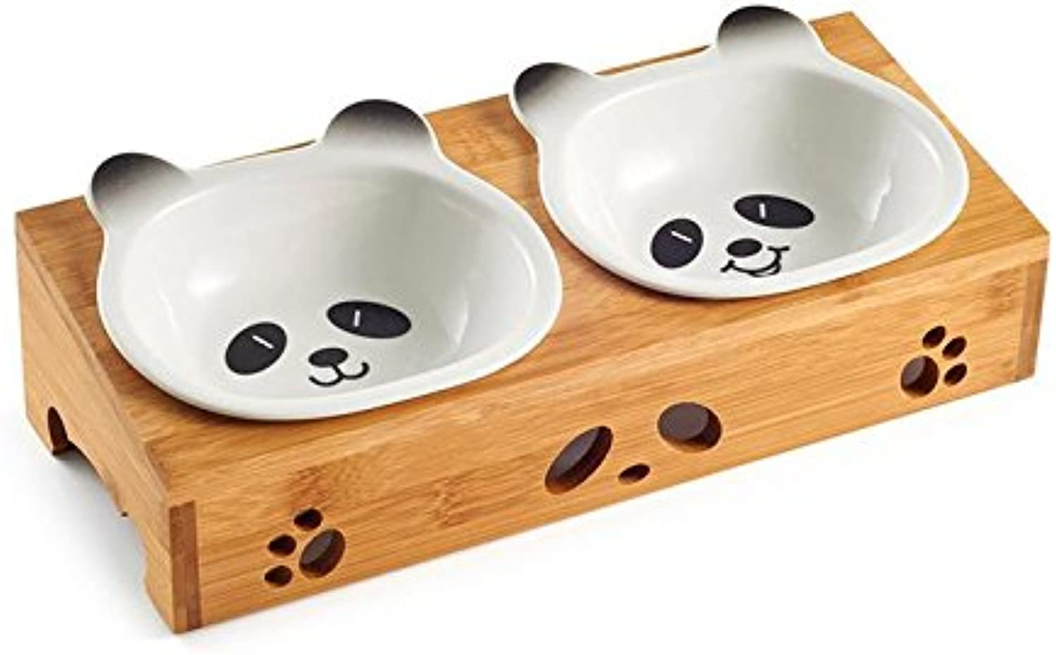 Fishagelo Ceramic Pet Bowl with Sturdy Bamboo Stand for Food and Water Bowls Pet Feeders Double Bowls Fishagelo (color   color Black+White)