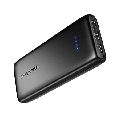 Portable Charger RAVPower 22000mAh Portable Phone Charger 22000 Power Bank 5.8A Output 3-Port Battery Packs (2.4A Input, iSmart 2.0 USB Ports, Li-polymer) For iPhone X, iPhone 8, Galaxy S9 – Black