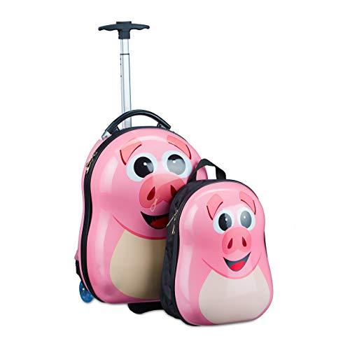 Relaxdays Kinderkoffer mit Rucksack, Schwein, Mädchen & Jungen, Hartschale Reiseset Kinder, HBT 46 x 30 x 25 cm, rosa