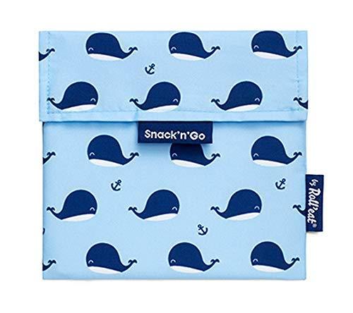 Roll'eat – Snack'n'Go Tiere – Snack Beutel mit Walen | wiederverwendbarer, ökologische Lunchbox, BPA frei, leicht zu reinigen - Farbe: Blau, 18 x 18 cm