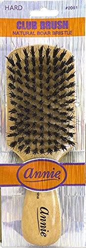 "Annie - Club Brush - (7"") - Boar & Nylon Hard Bristle Brush - Polished Wood Handle - Works Best on Thick Hair"
