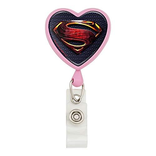 Justice League Movie Superman Logo Heart Lanyard Retractable Reel Badge ID Card Holder