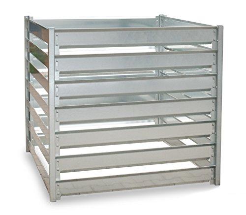 Komposter 1200 L aus feuerverzinktem Metall - individuell endlos erweiterbar - Trennung von frischem und reifem Kompost durch Erweiterungs-Sets - langlebiges Stecksystem - einfacher Aufbau