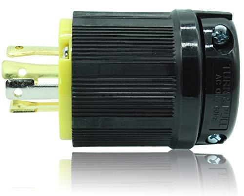 Journeyman-Pro 2411 20 Amp, 125/250 Volt, NEMA L14-20P, 3P, 4W, Locking Male Plug Connector, Black Industrial Grade, Grounding 5000 Watts Generator Rating (L14-20P Male Plug)