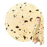 Kids Burrito Blanket Double Sided, Tortilla Blanket Baby Size Funny Blankets Food Blankets, Burritos Tortilla Blanket Realistic Food Throw Blanket Kids Throw Blanket (Off-White, 39 inch)