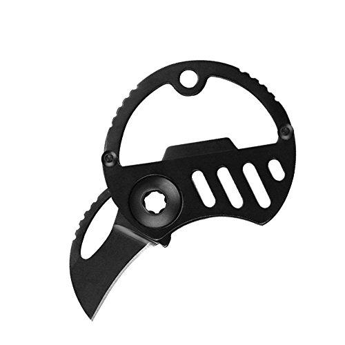 TANKING Folding Pocket Knife Key Chain Knife with Bottle Opener (Black)