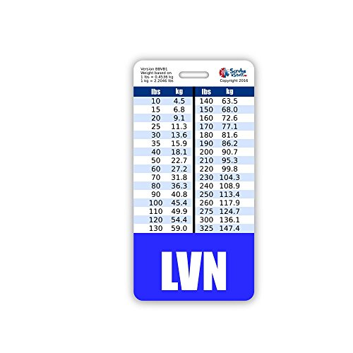 LVN Badge Buddy Vertical w/Height & Weight Conversion Charts (Blue)