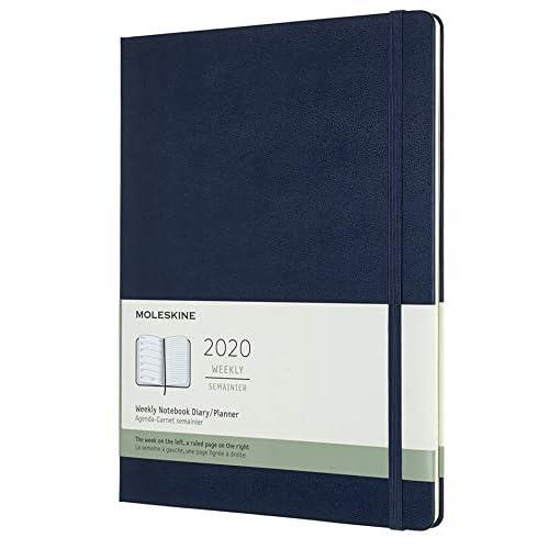 Moleskine 12 Mesi 2020 Agenda Settimanale, Copertina Rigida e Chiusura ad Elastico, Colore Blu Zaffiro, Dimensione Extra Large 19 x 25 cm, 144 Pagine
