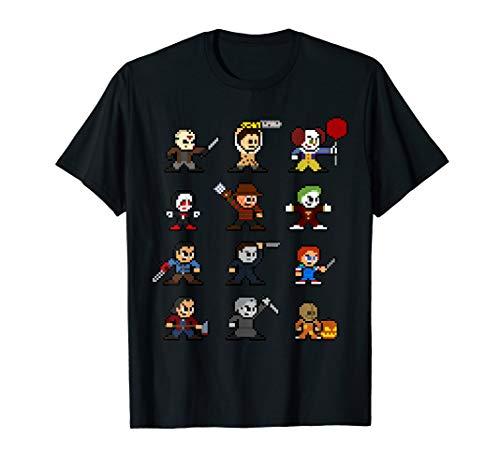 Funny Pixel Horror Halloween I Am A Horroraholic T-Shirt