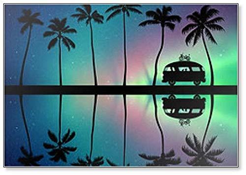 Retro Auto auf Palm Beach At Night Kühlschrankmagnet Nordlichter in Sternenhimmel