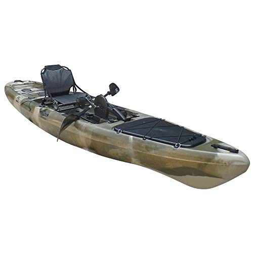 BKC PK13 13' Pedal Drive Fishing Kayak W/Rudder System and Instant Reverse, Paddle, Upright Back Support Aluminum Frame Seat, 1 Person Foot Operated Kayak (Green Camo)