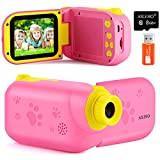 AILEHO Kids Video Camera for Girls Digital Video Camcorder for Kids Birthday Children Toys 3 4 5 6 7 8 9 Years Old Toddler Camera 8M 1080P with 8G Card Kids Cameras Rechargeable IPS 2.4' Pink