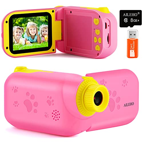 """AILEHO Kids Video Camera for Girls Digital Video Camcorder for Kids Birthday Children Toys 3 4 5 6 7 8 9 Years Old Toddler Camera 8M 1080P with 8G Card Kids Cameras Rechargeable IPS 2.4"""" Pink"""