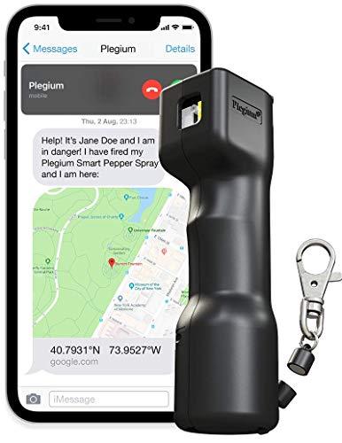Plegium Smart Pepper Spray 5-in-1 (Black) Free Location Texts & Phone Calls, Siren, Strobe Lights, 4 yr Battery Life