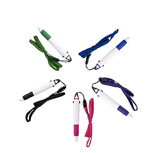 SMTTW Bic Bolígrafo Retráctil con Colgante Multicolor,Recarga de 0,7 mm,Regalos para Estudiantes o Medicinas,Bolis de Colores Suministros Escolares(5 Unidades)
