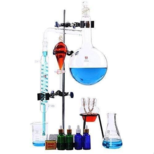 Lllffflll Glaswaren labware Laborgeräte 250ml-2000ml Labor-Destillationsapparatur for ätherische Öle Wasserdestillationsapparat Reinigungsapparat Glasgeschirr-Kits (Size : 2000ml)