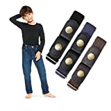 Buckle Free Elastic Kids Toddler Belt, No Buckle Stretch Adjustable Belts for Girls Boys Back to School Supplies by WHIPPY (Black Coffee Blue, Suit Pants Below 24 Inches)