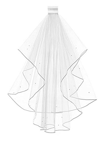 Women's 2 Tier Short Bridal Pearl Veil Wedding Porm Party Veil With Comb (Ivory)