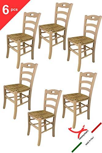 Tommychairs - 6er Set Stühle Savoie 38, robuste Struktur aus poliertem Buchenholz, unbehandelt und 100% natürlich, im natürlichen Farbton und mit Einer Sitzfläche aus echtem Stroh