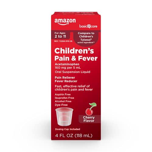 Amazon Basic Care Children's Pain & Fever, Acetaminophen 160 mg per 5 mL Oral Suspension, Dye-Free, Cherry Flavor, 4 Fl Oz