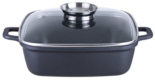 Kopf Bräter Santorin (Aluguss, 3,8 Liter, inkl. Glasdeckel mit Aromaknopf, Induktion) schwarz