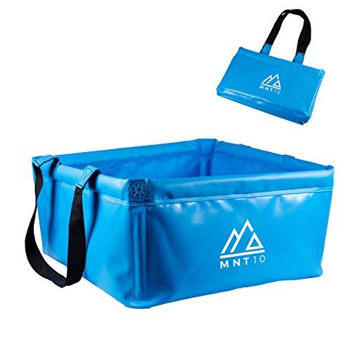 MNT10 Outdoor Faltschüssel in 15L oder 20L I Faltbare Camping Waschschüssel aus robustem Planen Gewebe I Als Camping Spülschüssel, Spülwanne oder als Faltbarer Eimer (Blau 20L)