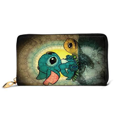 Lilo Stitch Geldbörse, RFID-blockierend, Echtleder, Reißverschluss, Kartenhalter