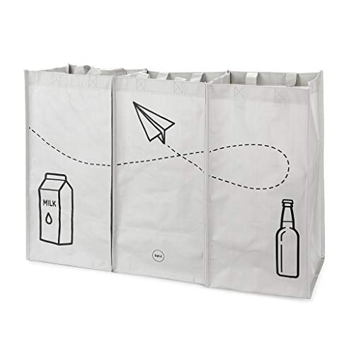 Balvi Set Bolsas Reciclaje Tidy Trash Color Gris Fabricadas con plastíco Reciclado Conjunto de 3 Unidades (43x22x22 cm) Medida Total: 43x66x22 cm