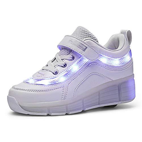 Unisex Niños Niñas LED Flash Zapatos de Roller con USB Recargable Automática Ajustables Ruedas Zapatos de Skate Aire Libre Gimnasia Trainers Zapatillas de Skateboard