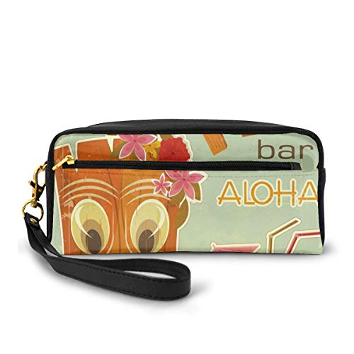 Pencil Case Pen Bag Pouch Stationary,Invitation to Tiki Bar Old Fashion Display Coconut Drink Mask Flowers Print,Small Makeup Bag Coin Purse