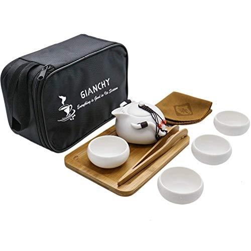 Gianchy Portátil de Viaje Kungfu Juego de té, La Haute cerámica Juego de té con Hecho a Mano de Cerámica Tetera y 4 Tazas de Té y Bambú Bandeja de té y Bolsa de Viaje (Blanco)