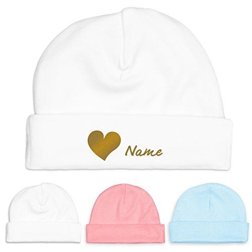Baby-Mütze mit Herz und Namen aus Fair-Trade-Baumwolle - Babygeschenk (fairer Handel - Unisex) (Weiss-Gold)