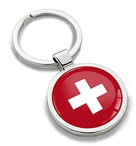 Biomar Labs® Llavero de Metal 3D con Bandera Nacional Suiza Swiss Switzerland Flag, Regalo para Hombre y Mujer KK 192