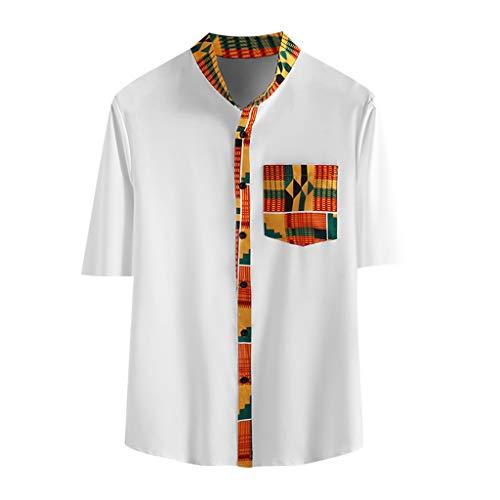 Yowablo Hemden Shirts Herren Hawaiihemd Kurzarm Freizeit Hemd Button Down Shirt Top Männer Vintage Bedruckte Stehkragen Tasche Bedruckte Kurzarm (L,Weiß)