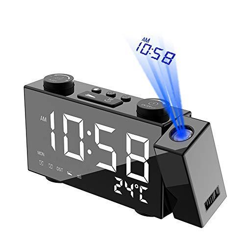 ZBBN Irfora-Wecker, LED-Digitalprojektionswecker mit USB-Ladeanschluss, drahtloses Wetter mit Funksteuerung, 12 / 24H, Innentemperatur ℃, Netzstromversorgung, Datums-Doppelalarm-Schlummerfunktion