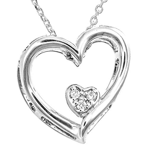 Dove Diamond Pendant Double Heart 925 Sterling Silver (18K Gold Plated), 0.02Ct Diamond in VS Clarity, EF Color Lab Grown | 50cm Extendable Silver Chain | Certified, Ethical Eco-Friendly Jewellery