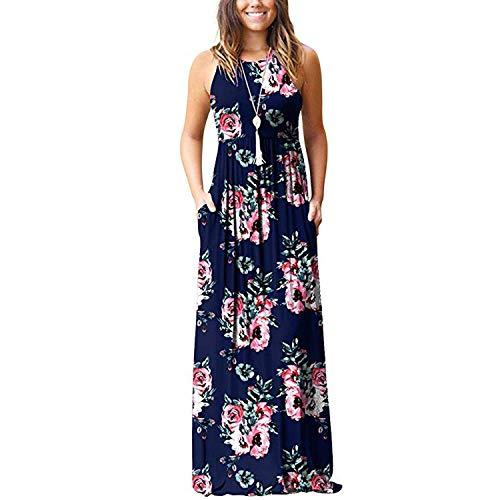 DHSPKN Women's Summer Maxi Dress Floral Print Boho Sleeveless Halter Neck Plain Dresses with Pocket