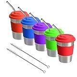 Bicchieri in acciaio inox con coperchi e cannucce, 12 oz con manicotti in silicone per bambini/adulti, in metallo infrangibile (confezione da 5)