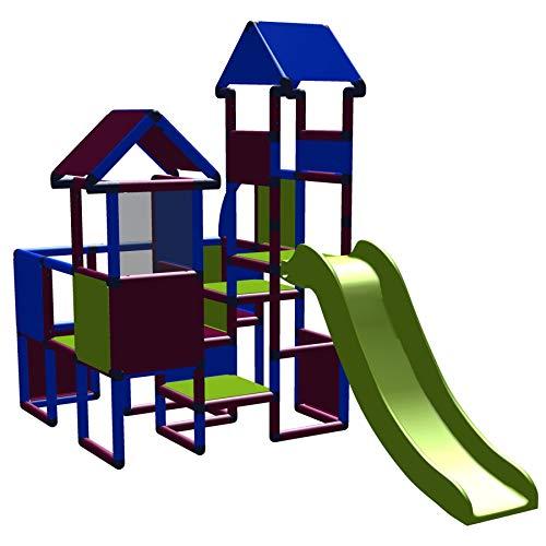 move and stic 6418 - Spielburg Moritz mit Rutsche in Magenta-blau-apfelgrün ~ Gartenspielhaus ~ geeignet für Kinderzimmer,Spielzimmer oder auch draußen im Garten ~ Indoor ~ Outdoor