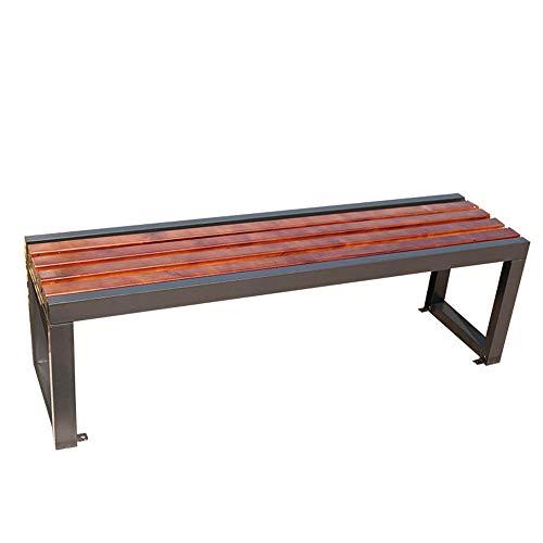 Banc de jardin en terrasse Banc extérieur en métal, Banc de parc avec structure en acier et sièges en bois massif résistant à la corrosion, Banc d'extérieur 3 places plus résistant aux intempéries