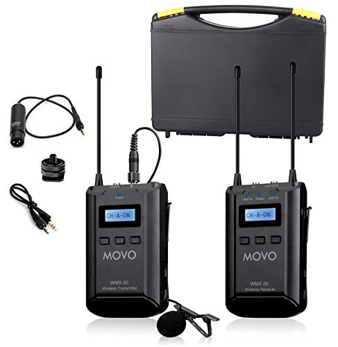 Movo WMX-20 48-Channel UHF Wireless Lavalier Microphone System with 1 Receiver, 1 Transmitter, and 1 Lapel Microphone Compatible with DSLR Cameras (330' ft Audio Range)