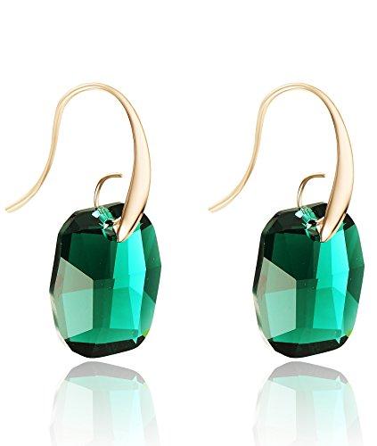 NEOGLORY Pendientes con Cristales SWAROVSKI VERDE Joya Original Regalo Mujer Chica