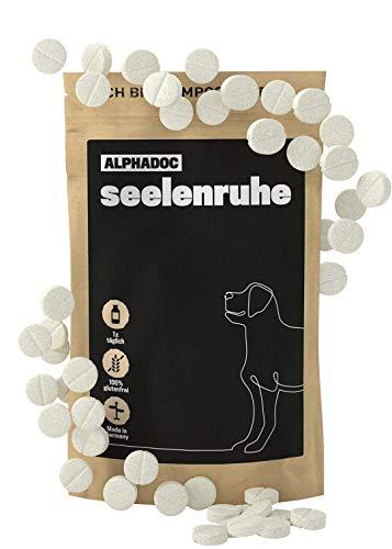 alphazoo seelenruhe 50 Tabletten | Beruhigungsmittel für Hunde mit Hanföl und Baldrian | gegen Stress und Angst | natürliche Entspannung für Hunde mit hoher Akzeptanz